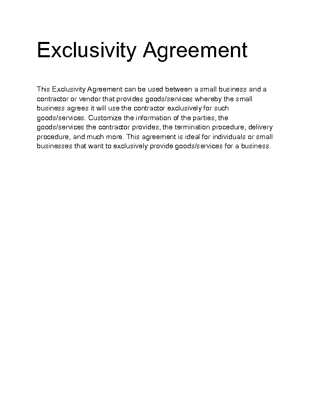 Sales exclusivity agreement choice image agreement for Euromillions syndicate agreement template