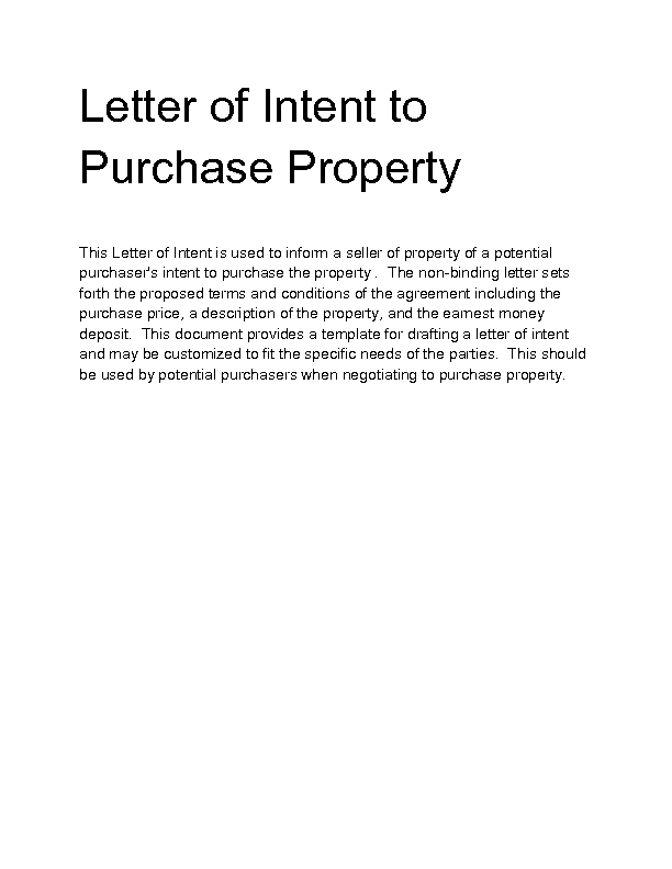 Sample letter of intent to sell rental property letter for Letter of intent to purchase property template