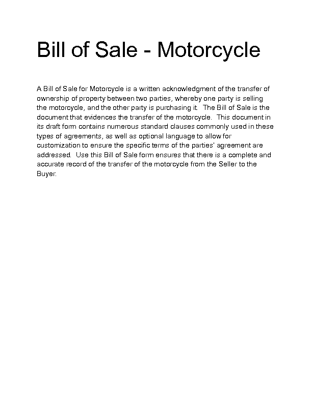 Welcome to Docs 4 Sale – Motorcycle Bill of Sales