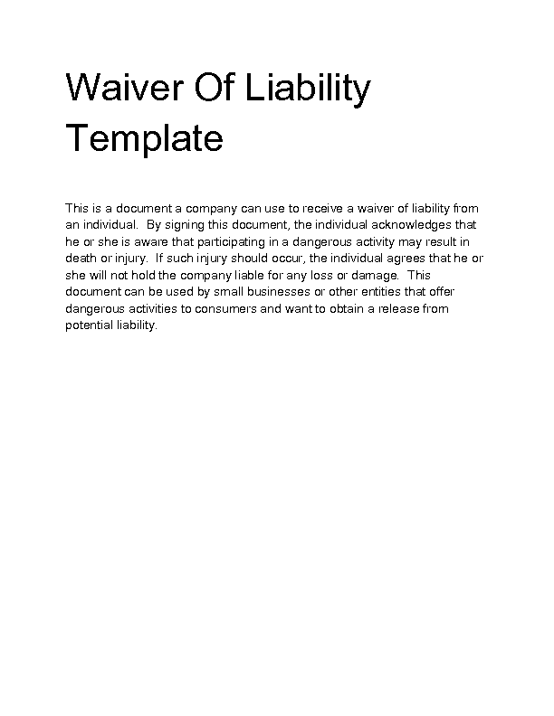 Sample Waiver Of Liability Free Liability Release FormsDoc – Waiver of Liability Sample