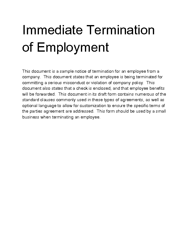 termination of employment 2 essay Termination of employment is an employee's departure from a job and the end of an employee's duration with an employer termination may be voluntary on the employee's part, or it may be at the hands of the employer, often in the form of dismissal (firing) or a layoff.
