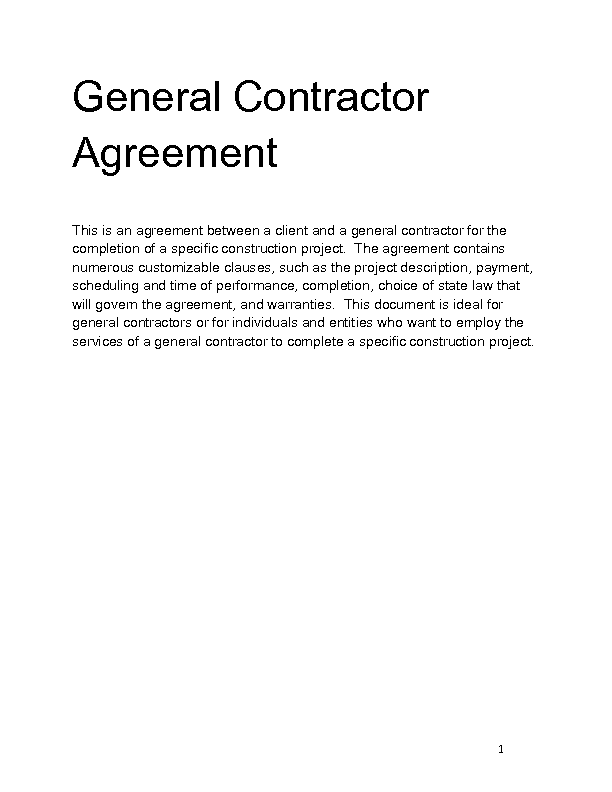 General Contractor Agreement Kubreforic