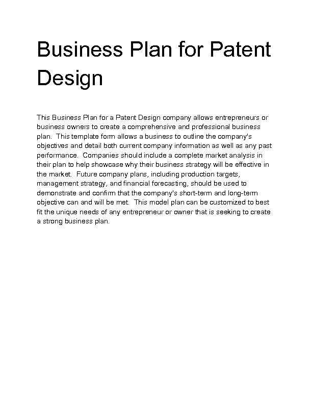 business plan patent