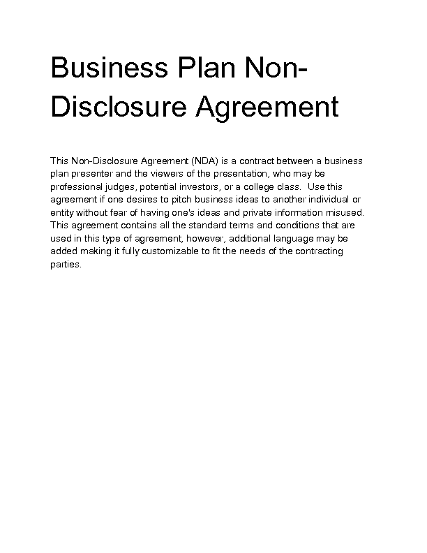 Business Plan Non Disclosure Agreement Template 28
