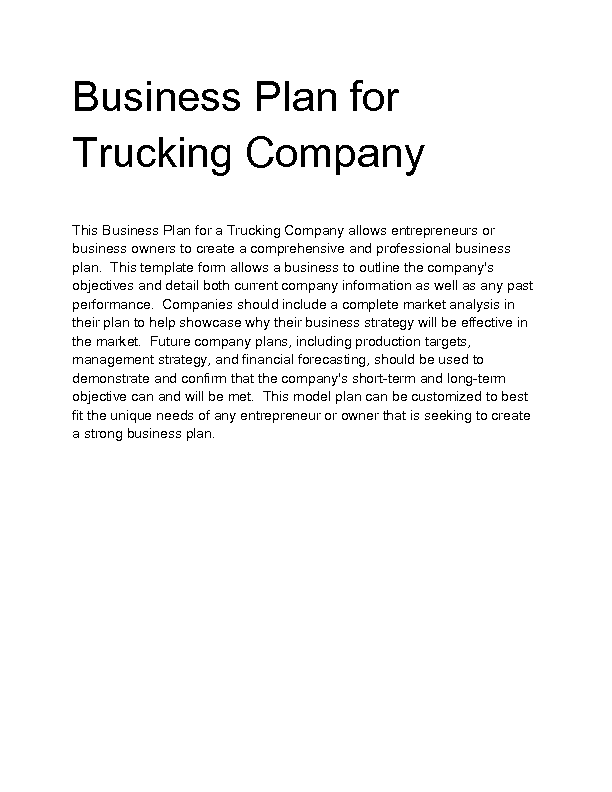 A Sample Trucking Company Business Plan Template