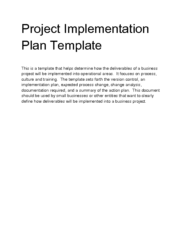 project implementation template