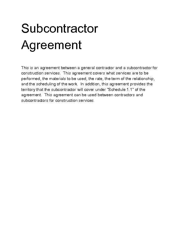 Welcome to Docs 4 Sale – Subcontractor Agreements