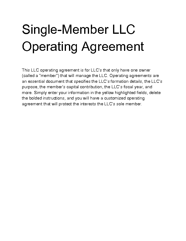 Llc Operating Agreement Single Member