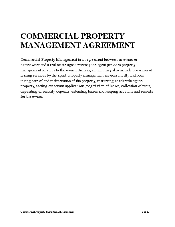 Attractive Commercial Property Management Agreement Amazing Design