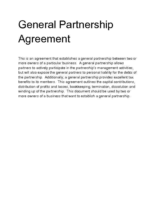 Welcome to Docs 4 Sale – General Partnership Agreements
