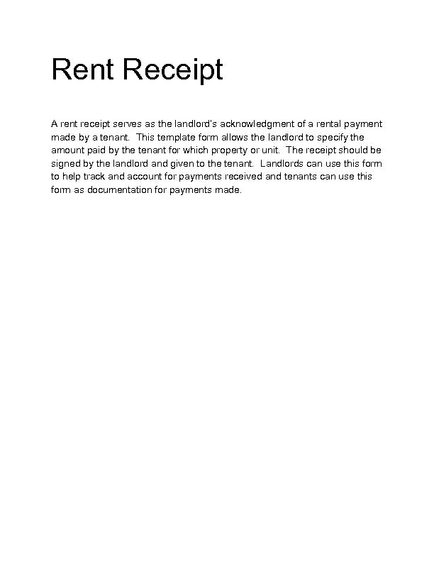 rent receipt letter template