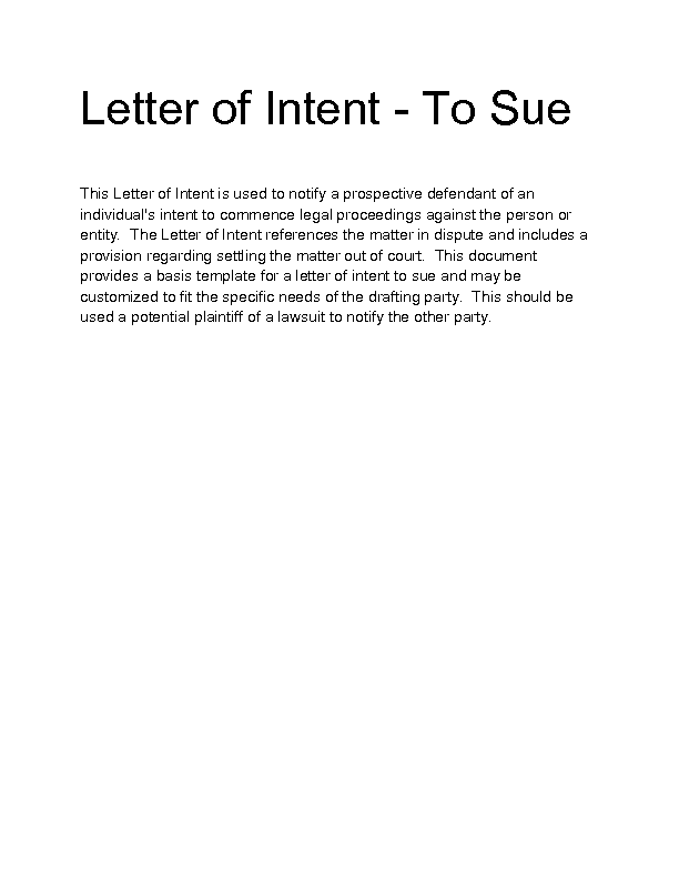 letter of intent to sue