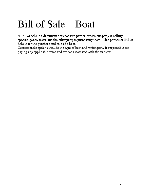 party bill of sale