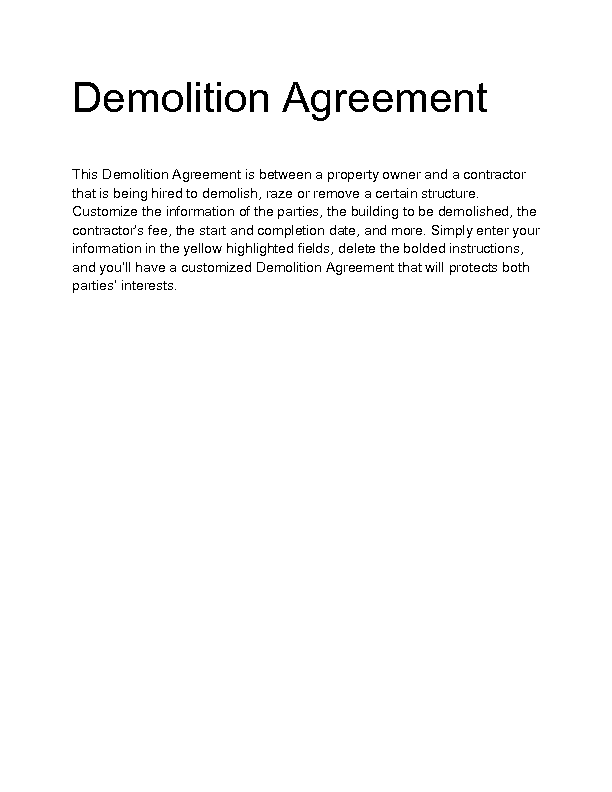 demolition plan template - welcome to docs 4 sale