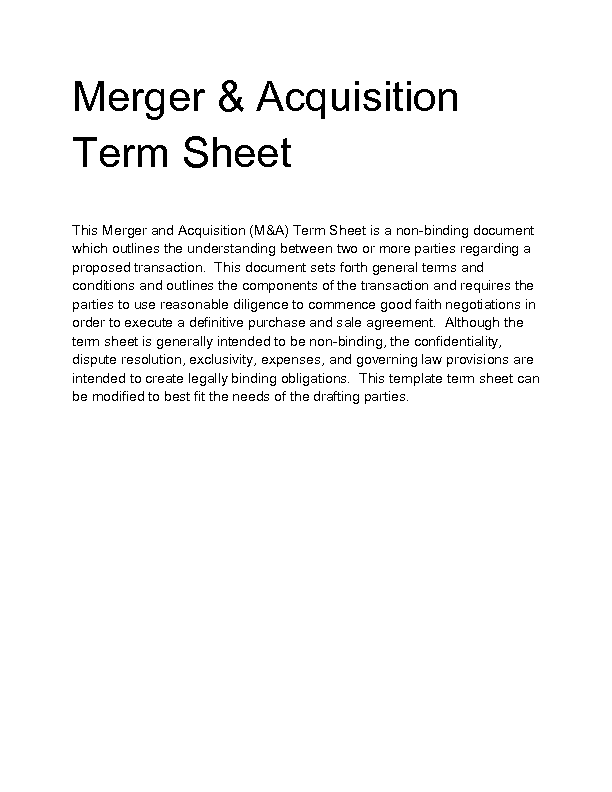 Welcome to docs 4 sale for Acquisition term sheet template
