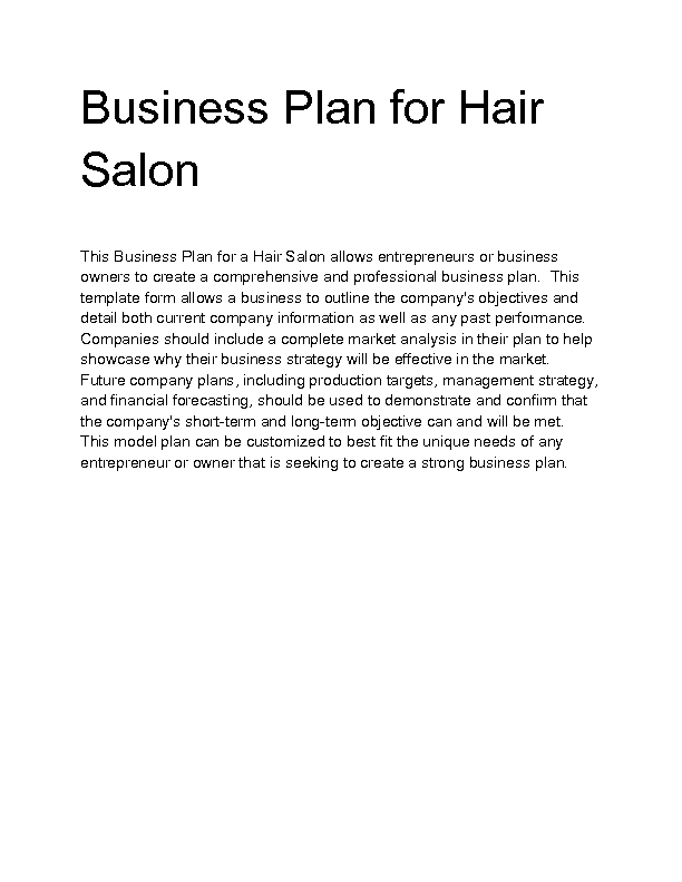 Welcome to docs 4 sale for A business plan for a beauty salon