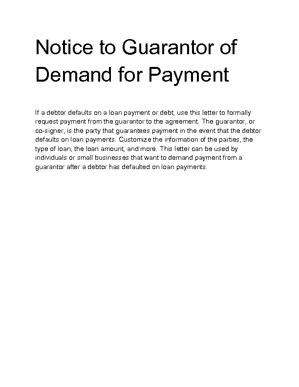 notice to guarantor of demand for payment