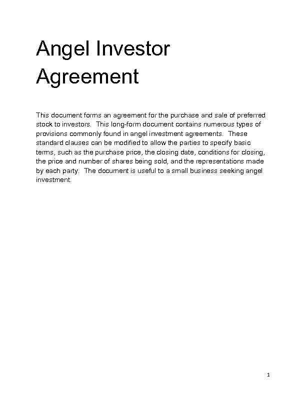 Investment Contract Templates  Investors Contract Agreement