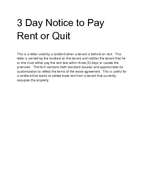 Welcome to docs 4 sale for Notice to pay rent or quit template