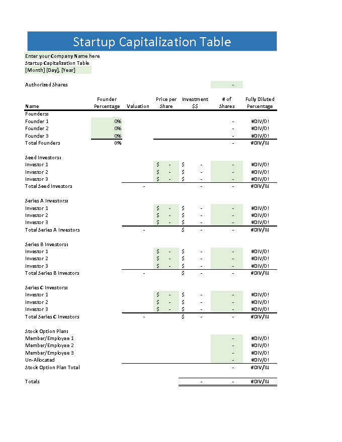 Cap Table Template Choice Image - template design free download