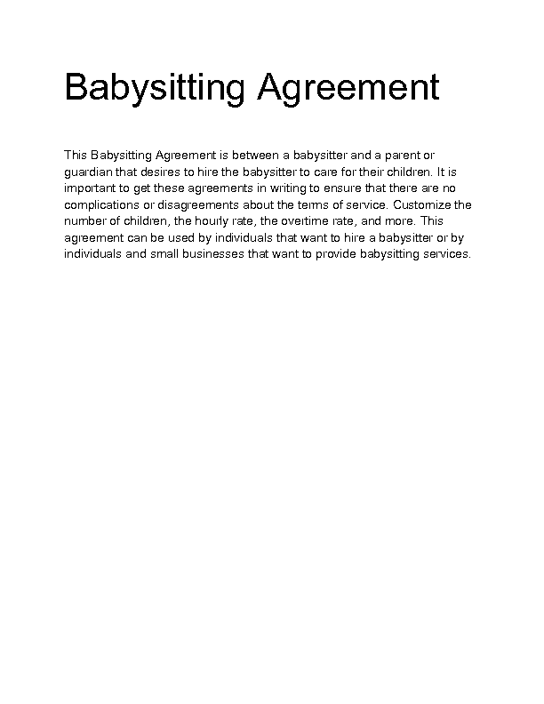 Babysitting Contract Template. 8 best images of free printable ...