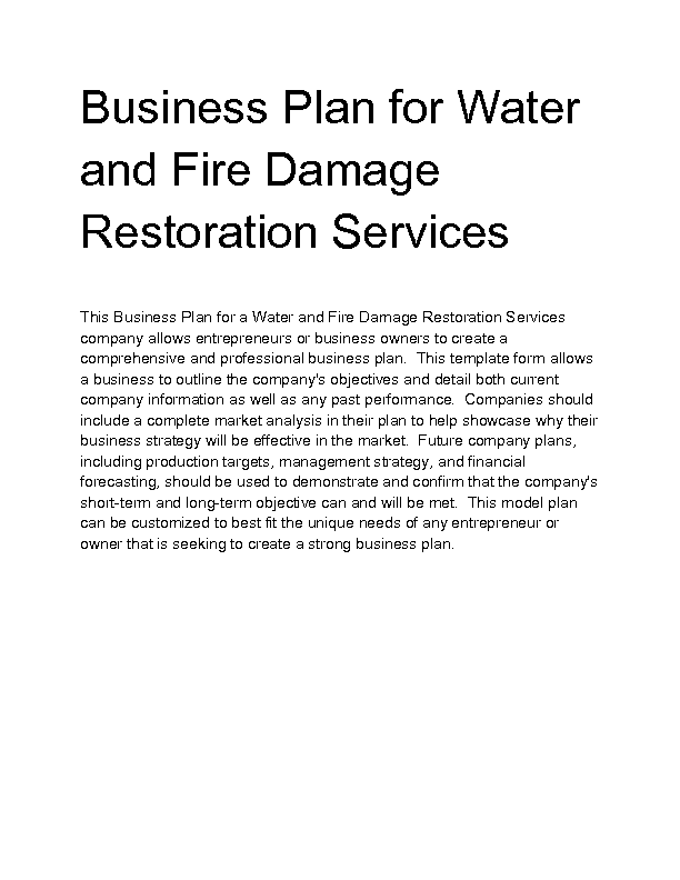 Water And Fire Damage Restoration Services Business Plan