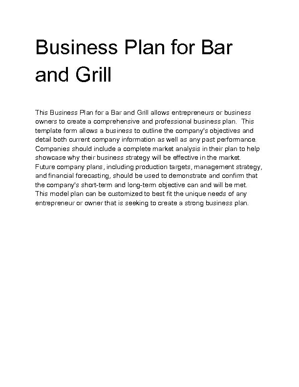 business plan bar grill Sample business plans for bar, nightclub, sports bar, tavern, pub and similar businesses business plan pro offers over 500 sample business plans.