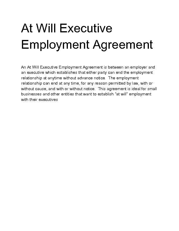 Welcome to Docs 4 Sale – Executive Employment Agreement