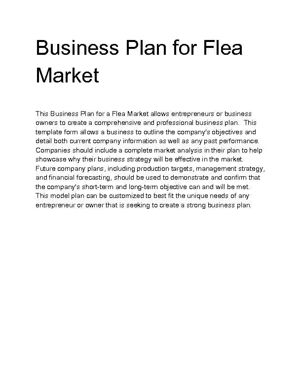 business proposal for flea market Flea market business plan - writing a flea market business plan flea market can be defined as an open-air street market for inexpensive or secondhand articles a.