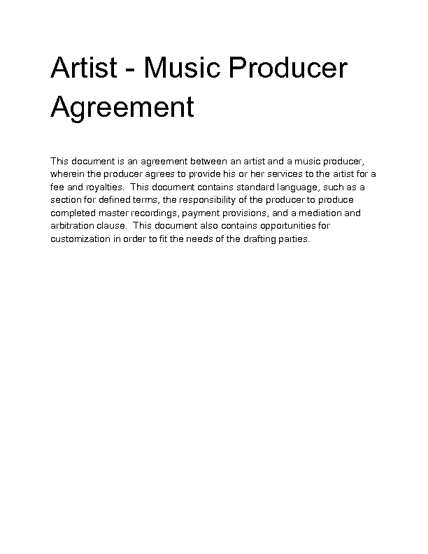 Sample Industry Contract Template 5 Free Documents Producer