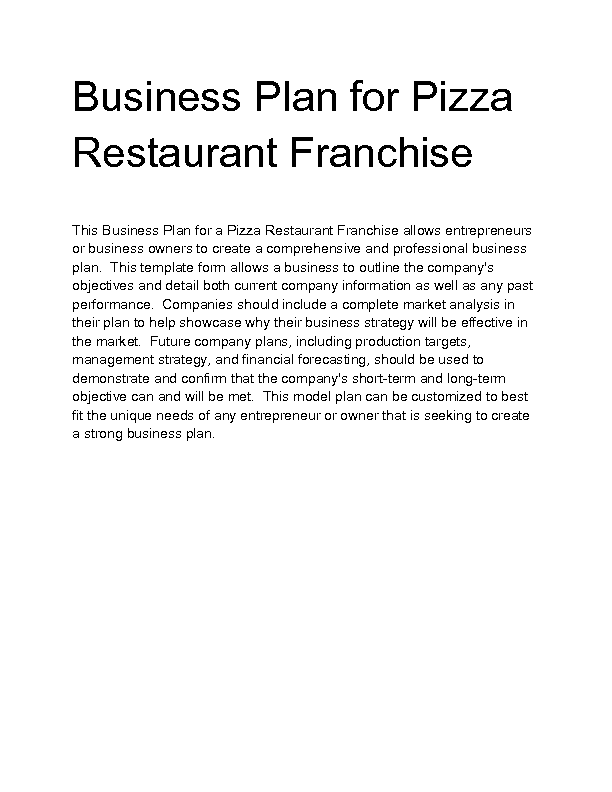 Franchise restaurant business plan