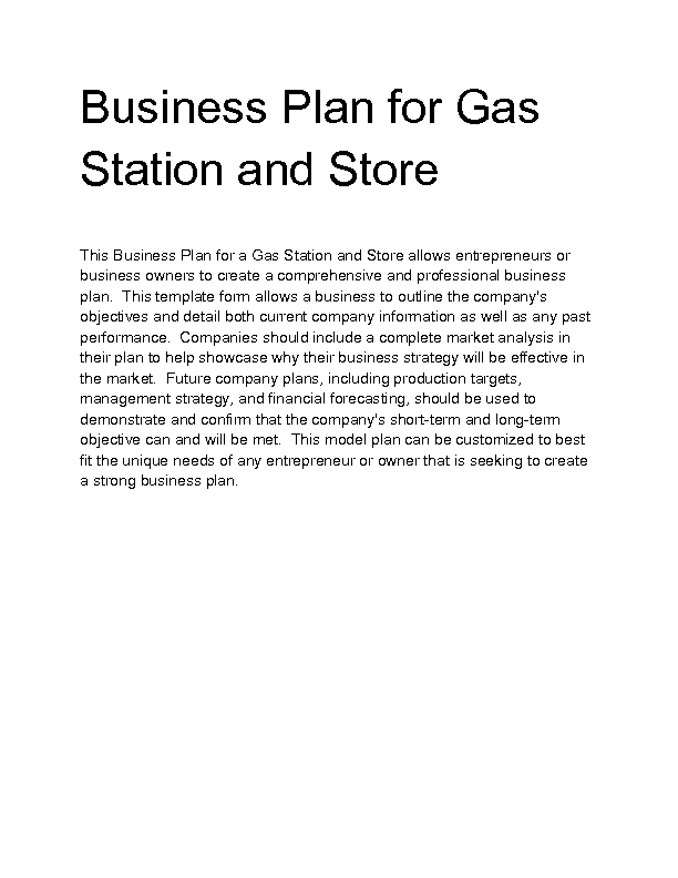 Business plan for gas station