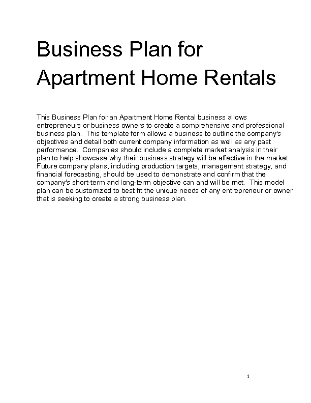 Apartment for rent business plan