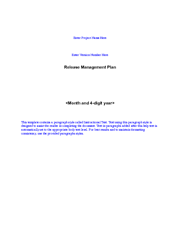 release management plan template