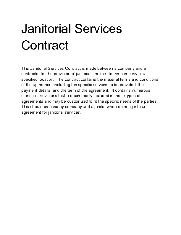 contract janitorial services