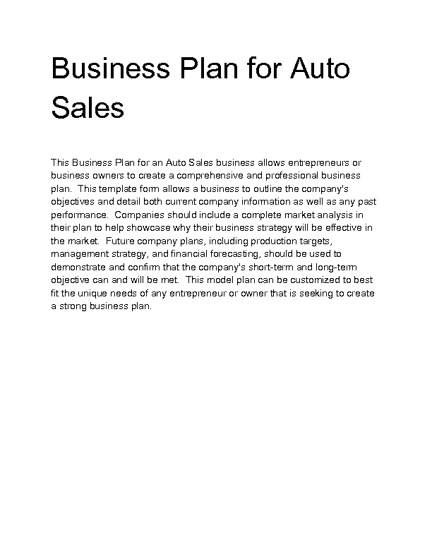 Business plan for automobile industry