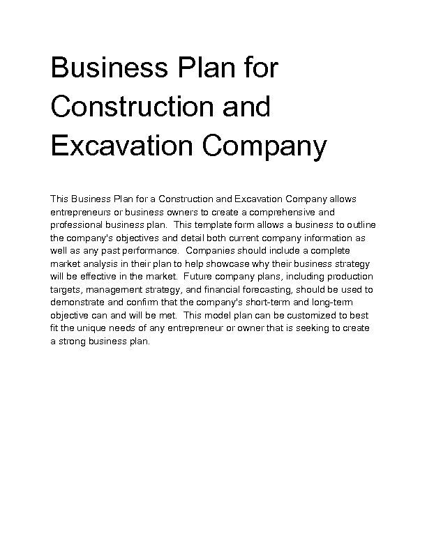 Construction Business Plan - Construction company business plan template