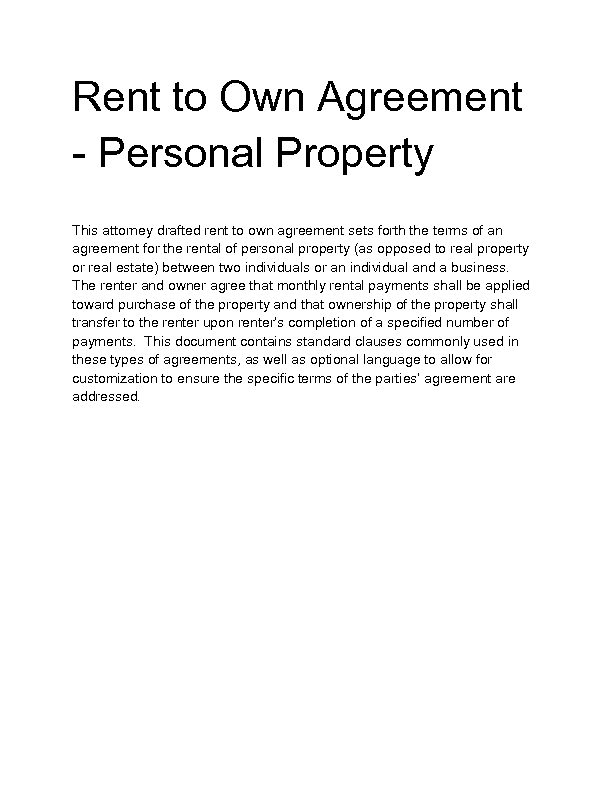 Welcome to Docs 4 Sale – Rent to Own Agreement
