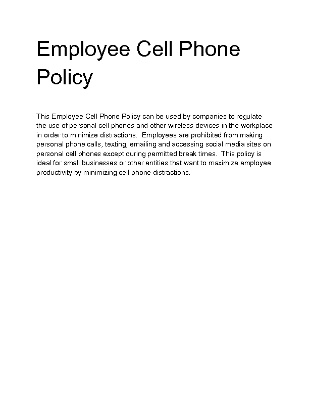 mobile phone policy template - welcome to docs 4 sale