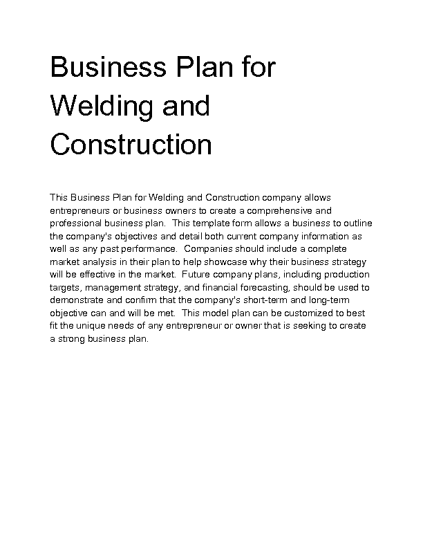Business plan for construction company