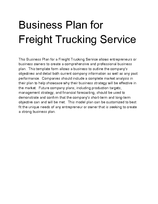 Business plan for trucking template