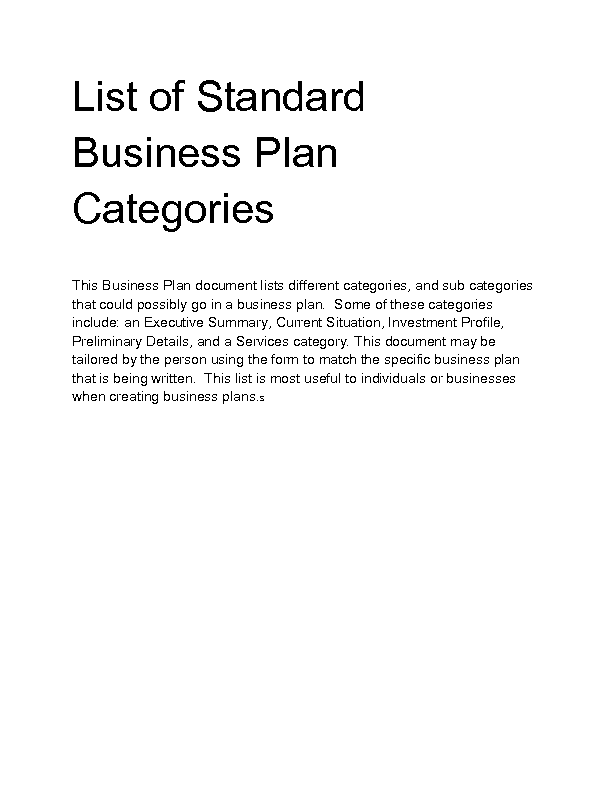 Welcome To Docs Sale - Standard business plan template