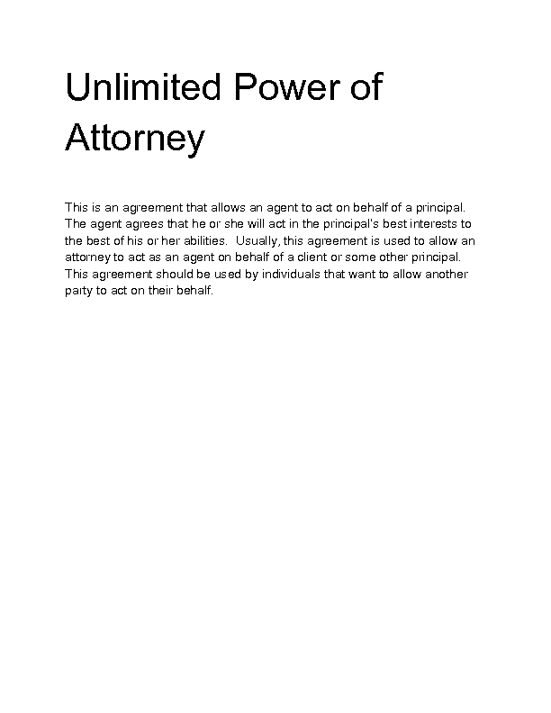 Welcome to docs 4 sale for Unlimited power of attorney form