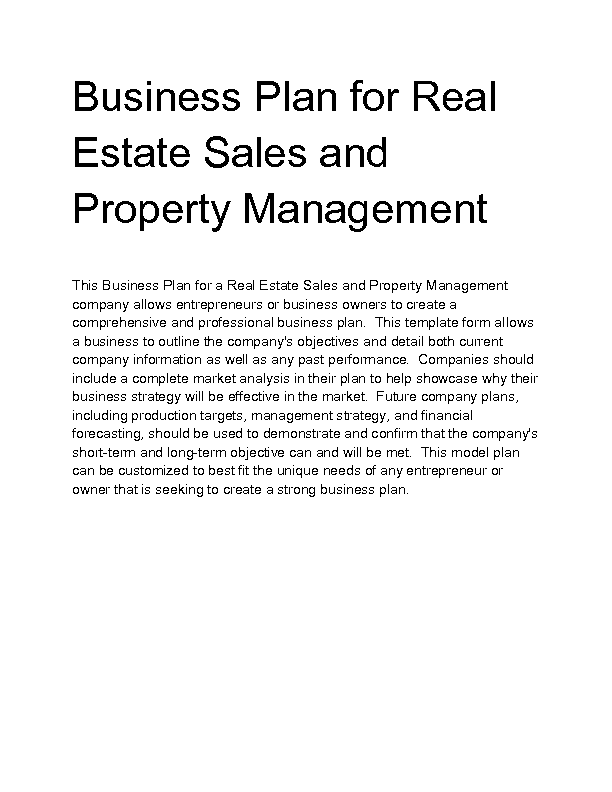 Free property management business plan