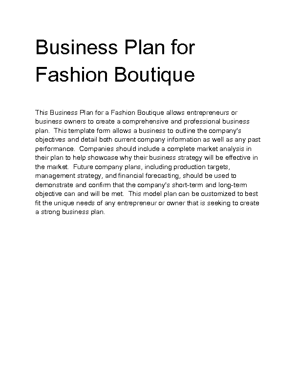 Business Plan Of A Fashion Boutique real Not Actual