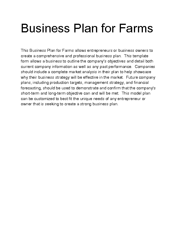 business plan for sale