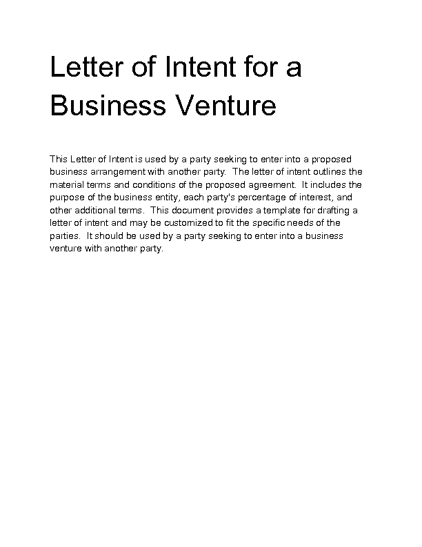 doc 585600 business letter of intent 10 business