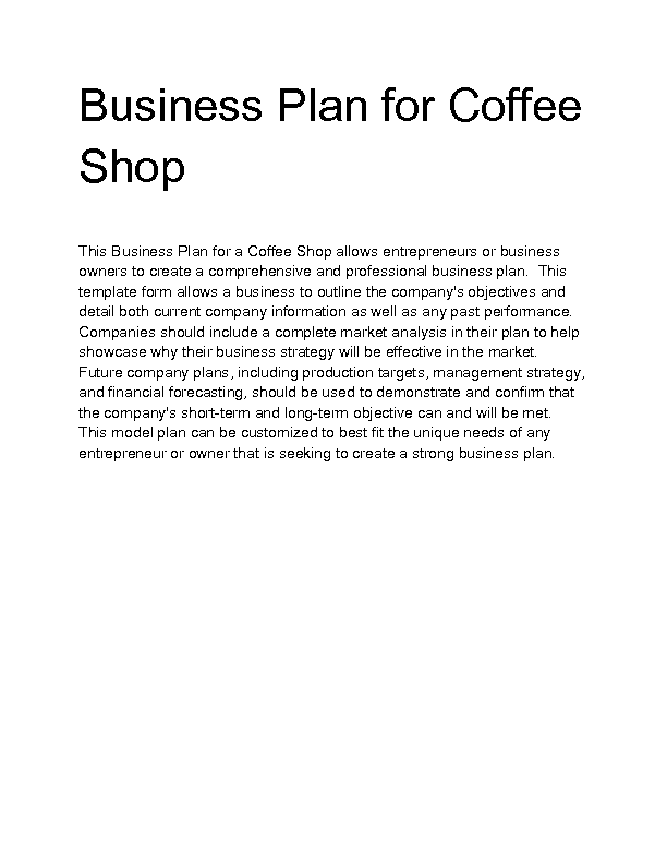Business plan of coffee shop
