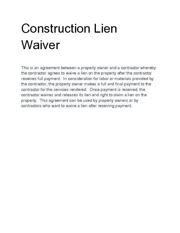 Welcome to Docs 4 Sale – Lien Waiver Form