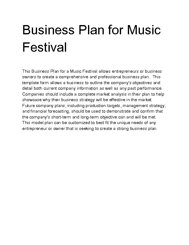 Entertainment Business Plan